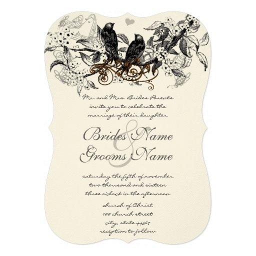 Rustic Cherry Blossom Love Bird Wedding Personalised Announcement