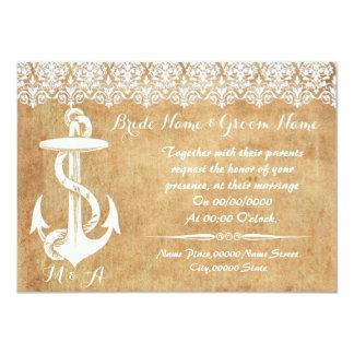 Rustic chic , anchor, WEDDING invitation