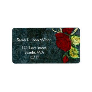 Rustic Chic Aqua Vintage Rose Wedding Address Label