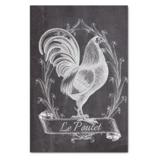 rustic chic blackboard french country rooster tissue paper