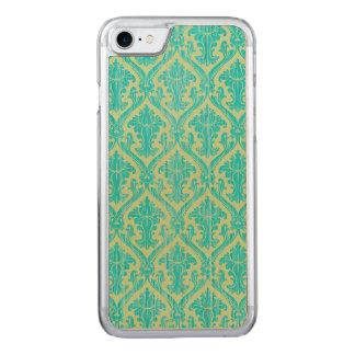 Rustic Chic: Blue Faux Wood and Green Lace Damask Carved iPhone 8/7 Case