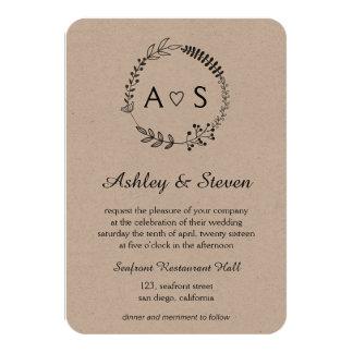 Rustic chic bothanical wedding invitation kraft