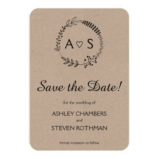 Rustic chic bothanical wedding save the date card