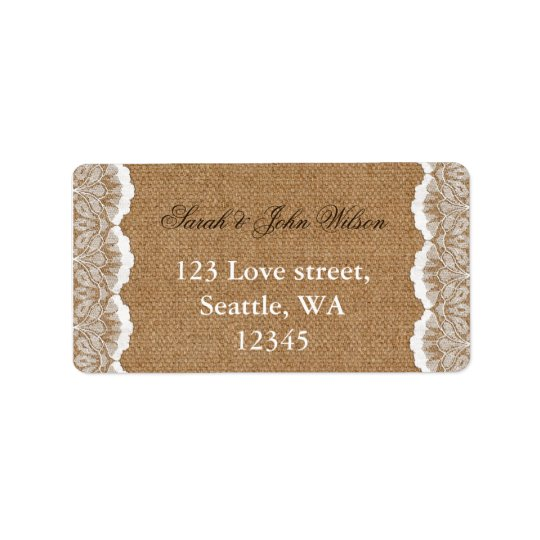 Rustic Chic burlap and lace country wedding Address Label