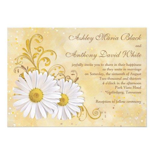 Rustic Chic Elegant Shasta Daisy Wedding Personalized Invitation