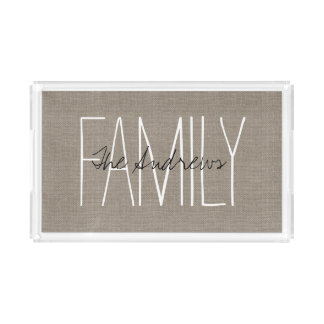 Rustic Chic Family Monogram Acrylic Tray