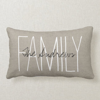 Rustic Chic Family Monogram Lumbar Cushion