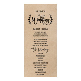 Rustic Chic Faux Kraft Calligraphy Wedding Program Personalized Rack Card