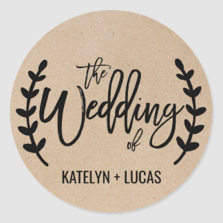 Rustic Chic Faux Kraft Wedding Envelope Seals