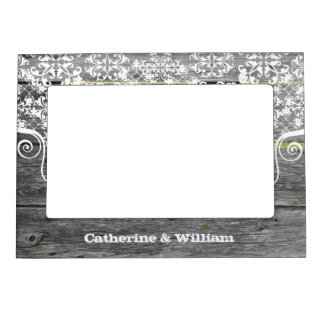 Rustic Chic Fence Custom Wedding Photo Photo Frame Magnet