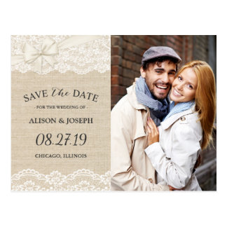 Rustic Chic Ivory Burlap Lace Save the Date Photo Postcard