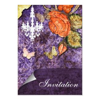 Rustic Chic Purple Vintage Rose Wedding Card