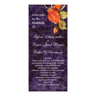 Rustic Chic Purple Vintage Rose Wedding Rack Card Design