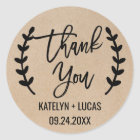 Rustic Chic Thank You Wedding Favour Stickers