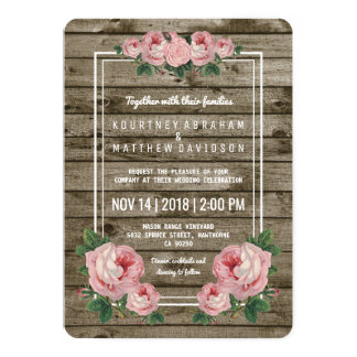 Rustic Chic Vintage Floral Wedding Card