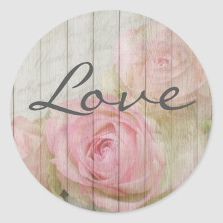 Rustic Chic Vintage Pink Roses Love Stickers