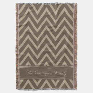 Rustic Chocolate Faux Burlap Chevron Pattern Throw Blanket