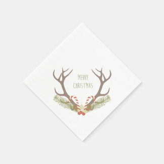 Rustic Christmas   Antler & Candy Canes Paper Serviettes