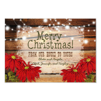 Rustic Christmas Card | Barn Wood and Lights