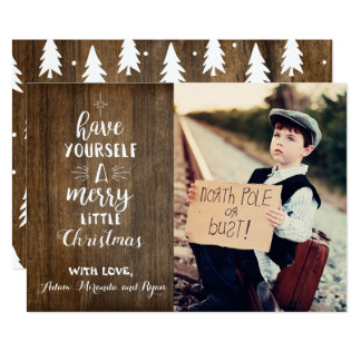 Rustic Christmas card with photo