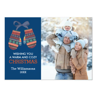 Rustic Christmas Colorful Mittens Holiday Photo 13 Cm X 18 Cm Invitation Card