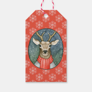 Rustic Christmas Deer in Snow Illustration Gift Tags