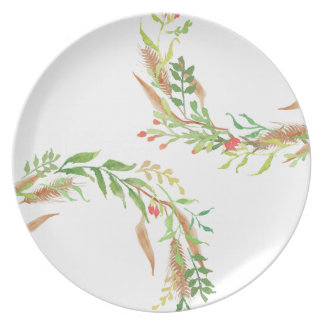 Rustic Christmas Double Wreath Melamine Plate
