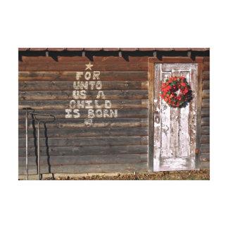 Rustic Christmas Graffiti Canvas Print