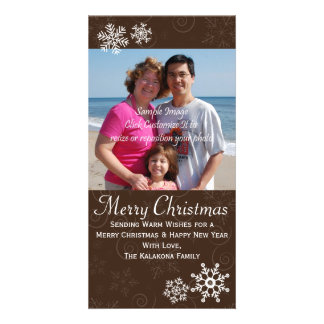 Rustic Christmas Holiday Snowflake Photo Card 4x8