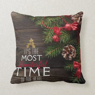 Rustic Christmas Holiday The Most Wonderful Time Cushion