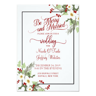 Rustic Christmas Holiday Wedding Invitation