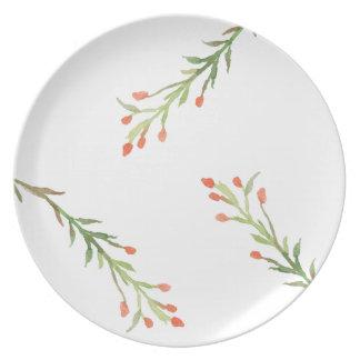 Rustic Christmas Holly Branch Melamine Plate
