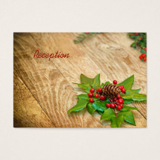 Rustic Christmas Holly Reception Cards