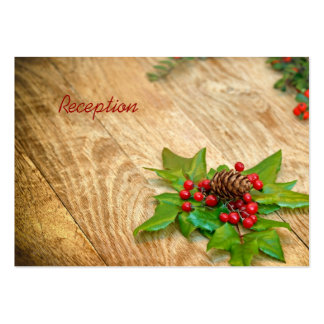 Rustic Christmas Holly Reception Cards Pack Of Chubby Business Cards