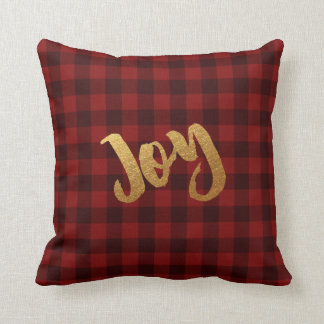 Rustic Christmas Joy Gold Buffalo Check Plaid Cushion