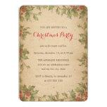 Rustic Christmas Party Vintage Holly Wreath Border 13 Cm X 18 Cm Invitation Card