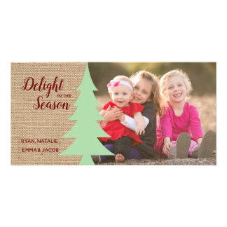 Rustic Christmas Photo with Tree Card
