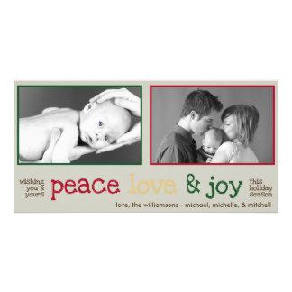 Rustic Christmas Photocards (Gray) Custom Photo Card