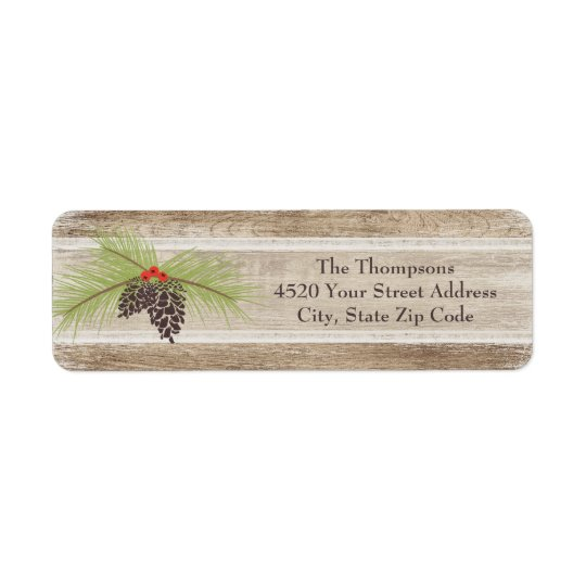 Rustic Christmas Pine Branch & Berries Woodgrain Return Address Label