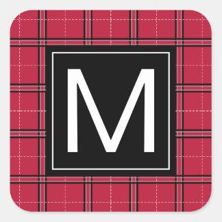 Rustic Christmas Red Black Plaid Modern Monogram Square Sticker