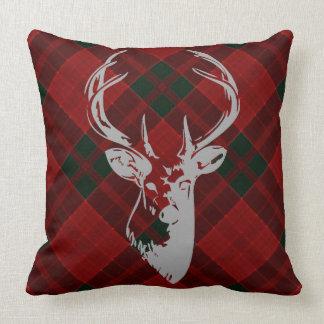 Rustic Christmas Tartan Pattern Country Deer Head Cushion