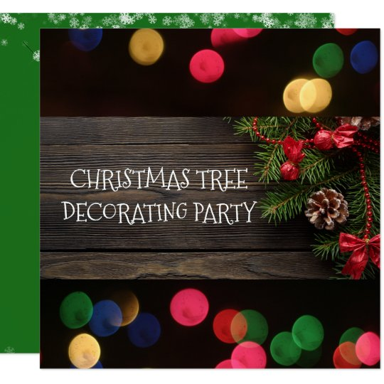 Rustic Christmas Tree Trimming Party Bokeh Lights Card
