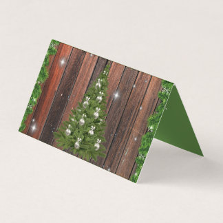 Rustic Christmas Tree Wood Panel Greeting Cards