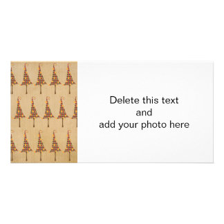Rustic Christmas Trees Pattern Photo Card Template