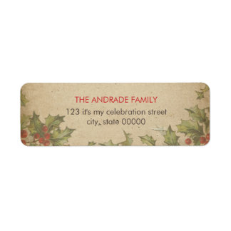 Rustic Christmas Vintage Holly Leaves Red Berries Return Address Label