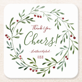 Rustic Christmas Wedding Favor Personalized Party Square Paper Coaster