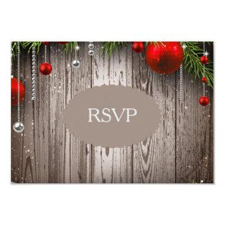 Rustic Christmas Wedding Invitation RSVP