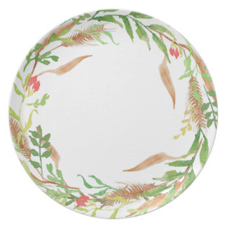 Rustic Christmas Wreath Melamine Plate