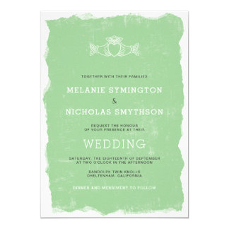 Rustic Claddagh Irish wedding invite, 3991 Card