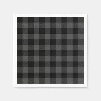 Rustic classic grey and black plaid paper serviettes